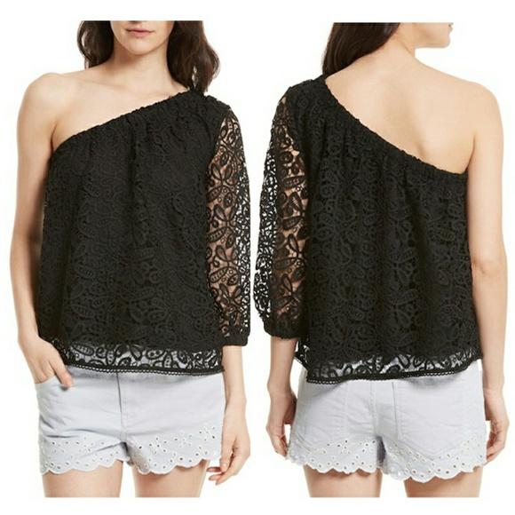 8cdb5c539606f8 EUC Rebecca Minkoff one-shoulder lace top